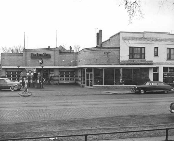 ...but 60 years ago an auto service station called The Tyre Shop was in the building. Street car tracks still ran down the middle of Grand Avenue when the picture was taken in 1953.)