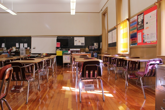 Looking toward the front of the one and only classroom inside Mattocks School.