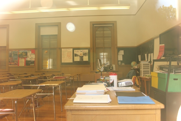 Looking into Carmen Lundberg's Spanish classroom from one of the south-facing windows.