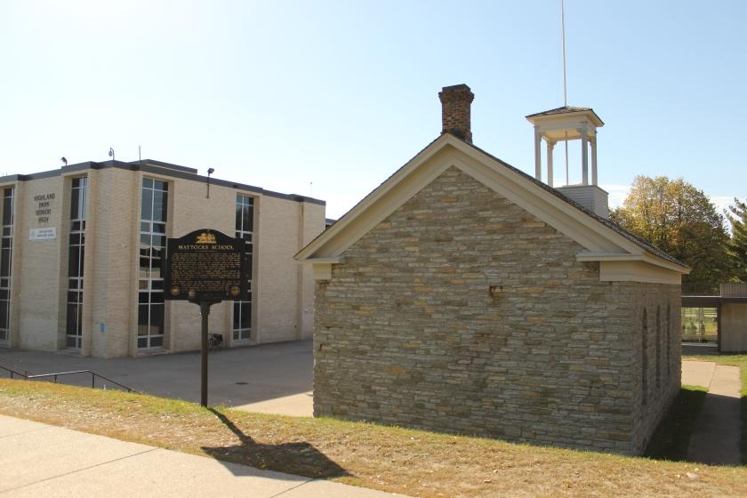 The original Mattocks School with Highland Park High School in the background.