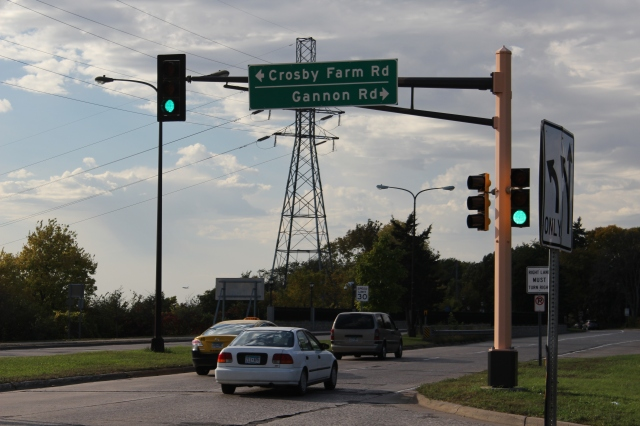 MnDOT right-of-way along Gannon Road became the site of anti-war protesters after they were forced off Sperry property.