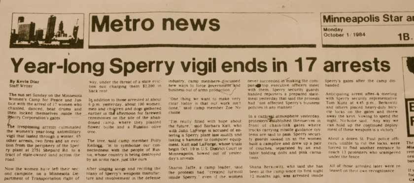 The Minneapolis Star and Tribune report on the commotion surrounding the closing of the peace camp next to Sperry's Shepard Road plant.