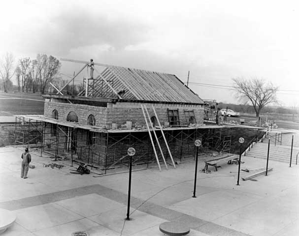 Mattocks School undergoes re-assembly, brick by brick, in front of Highland Park High in 1964.