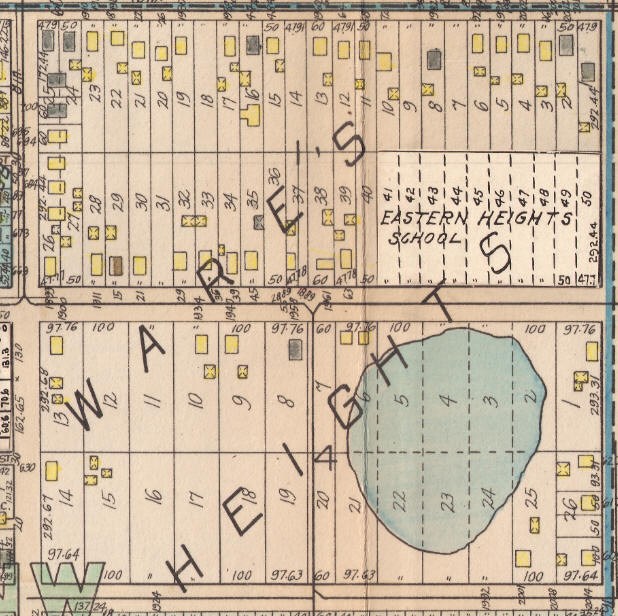 The 1928 Hopkins Atlas showing the lake south of Eastern Heights School.  The block is between Margaret Street, Ruth Street, Hazel Street, and East 5th Street.
