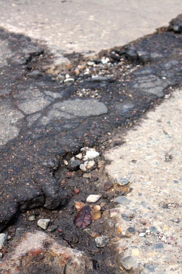 One of many dozens of potholes I encountered on the ride.