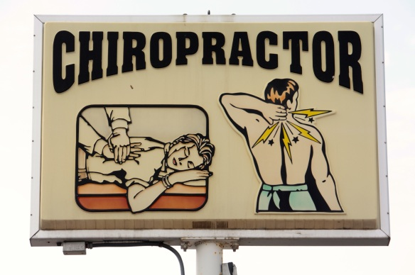 I like the artwork on this sign for a chiropractor in the 1300 block of West 7th