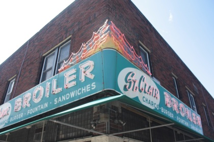 The restaurant on the southwest corner features a great neon sign.
