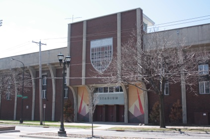 The Macalester Stadium building, opened in 1965, interestingly includes student housing on the second and third floors.