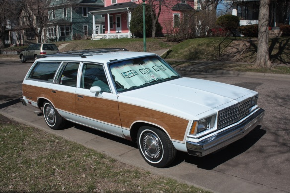 "I love ""classic"" cars like this Chevy Malibu Classic Estate station wagon with faux wood paneling. It's a 1978, '79 or '80. Hershel Street, slightly north of St. Anthony Avenue."