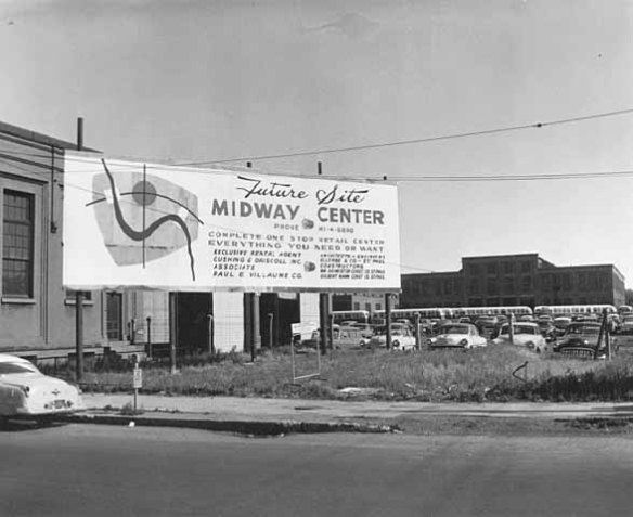 A billboard announced the pending development of Midway Center. Photo courtesy of Minnesota Historical Society.
