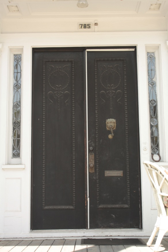 The detail on the front doors is fantastic. Note the leadded glass on either side.