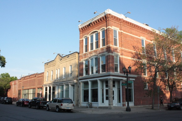 Today these three Dayton Avenue buildings are part of the YMCA, which has its main entrance on Selby Avenue. Built in the early 1880s, all three contained businesses for many years. (Thomas Finn Roofing was one venture in the easternmost building, 270 Dayton.