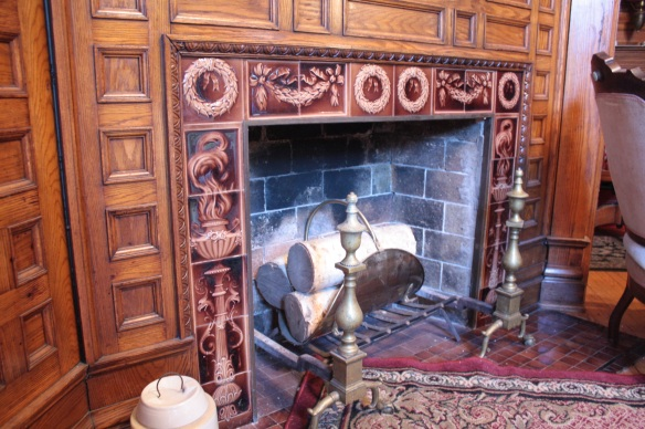 The beautiful tile surrounding the fireplace is also original.