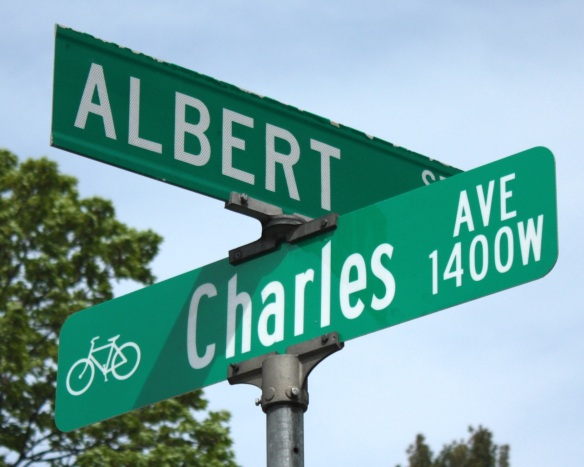 The Charles Avenue sign features a bike, a nod to its designation as a bike boulevard. Notice the upper and lower case letters on the Charles Avenue sign and the much more common all upper case on the Albert Street sign.