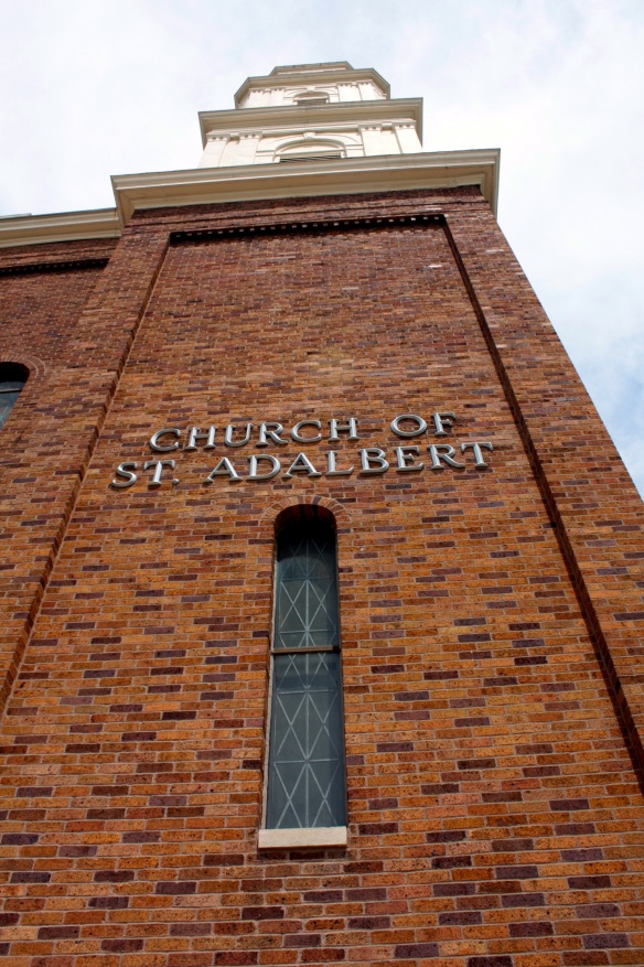 One of the two signature towers that bracket the front of St. Adalbert.