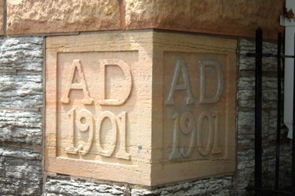 The cornerstone of the former St. Adalbert School.