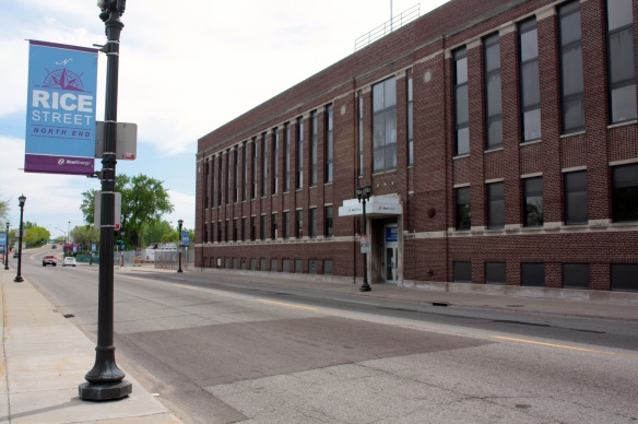 A Rice Street banner and on the right, an Xcel Energy (NSP) facility that houses the company's credit union.