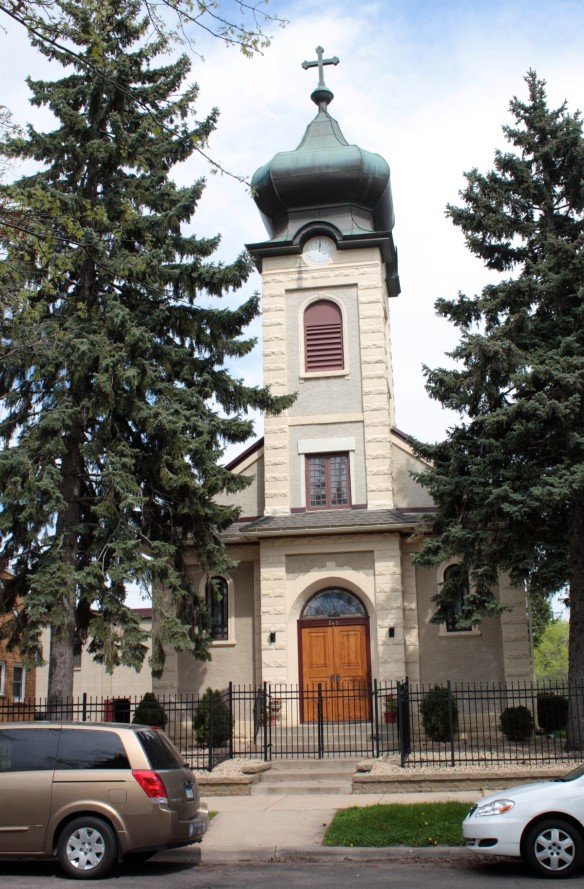 The front of St. Mary's Romanian Orthodox Church. According to SaintPaulHistorical.com, the full name of the church is Falling Asleep of the Ever-Virgin Mary.