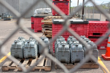 These industrial gas meters are stored near the back of Xcel's Rice street building.