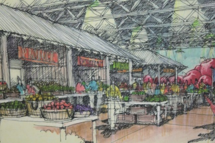 An architectural rendering of one idea previously considered for the Hmongtown Market.