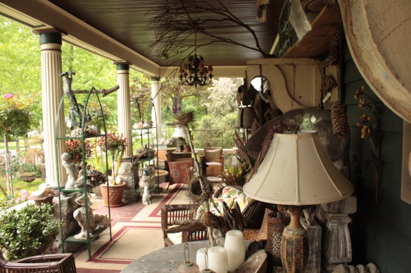 The decorative flora, fauna and furniture of the Diekman's porch.