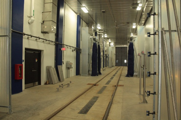 The wash rack for the light rail cars.