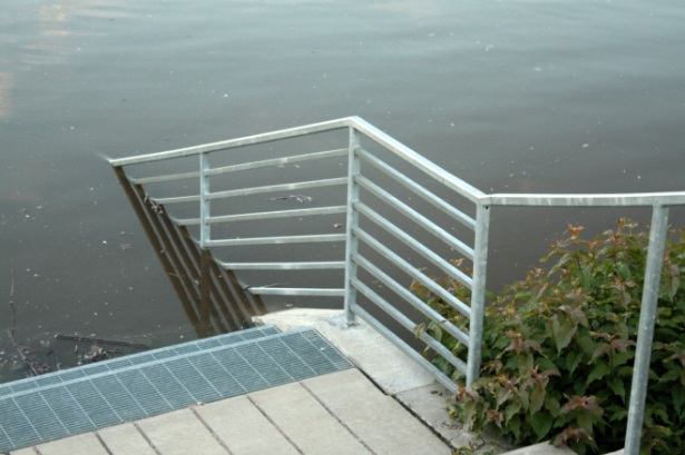 The flooding brought river access at Chestnut Plaza closer than planned.