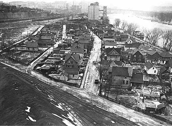 This is the Upper Levee in about 1938 from the High Bridge. Courtesy Minnesota Historical Society