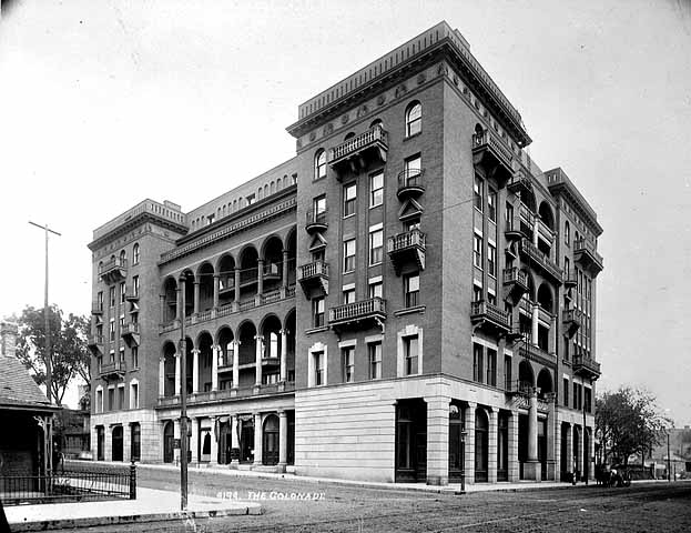 The building was known as the Colonade Apartment Homes when this picture was taken circa 1900. Courtesy Minnesota Historical Society