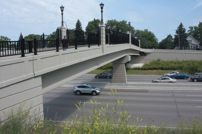 The pedestrian/bike bridge over I-94. The view looks north.