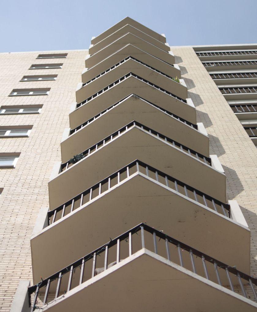 The outward facing balconies create an interesting pattern