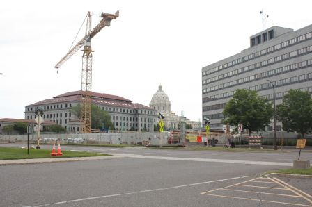 The Minnesota Legislative Library, under construction along Rice Street, is one of the three major construction projects underway at the Capitol complex. The others are renovation of the Capitol and the construction of the contentious Senate Office Building.