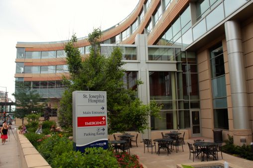 The newest building at St. Joseph's Hospital is on St. Peter Street.