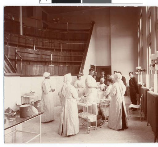 Dr. John Fulton and Dr. Charles Wheaton in an operating room at St. Joseph's Hospital in 1906. Courtesy Minnesota Historical Society