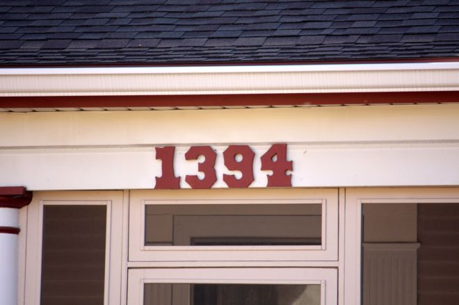 The address numbers at 1394 Englewood Avenue in the Midway neighborhood.