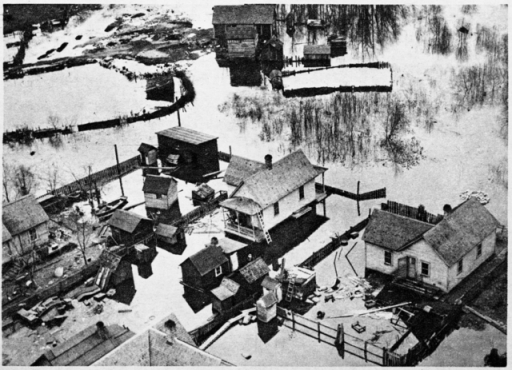 The West Side Flats overrun by water in the 1916 flood.