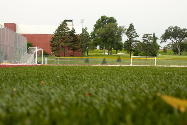 The Stacy Robinson Field turf. In the background you can see part of the Oxford Community Center.
