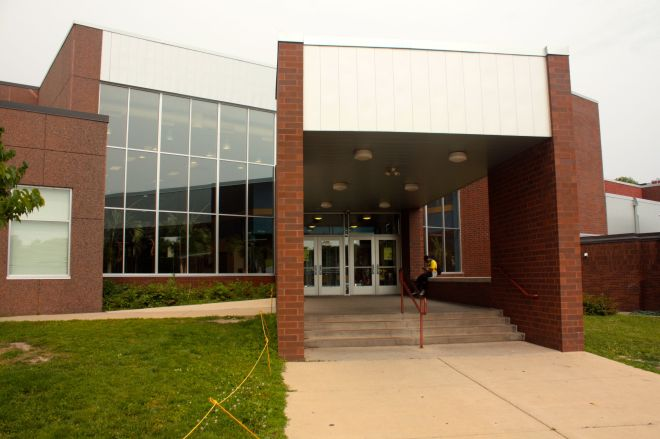 The main entrance to Oxford Community Center is on Iglehart Avenue, on the east side of the building.