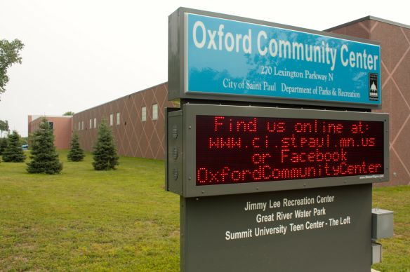 The Oxford Community Center sign fronts Lexington Avenue.