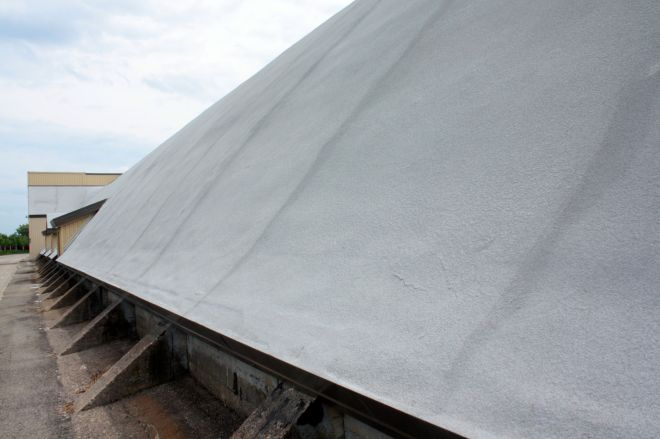 Up close, the steep pitch of the Riverside roof is evident.