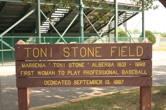 A modest sign welcomes visitors and presents the very basics about Toni Stone.