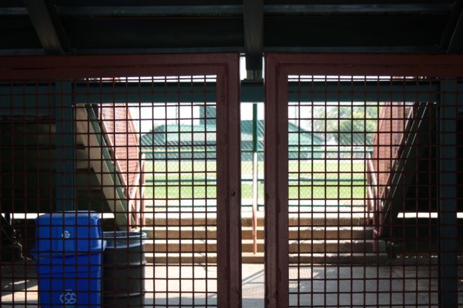 ...and a peek through the gate onto the infield.
