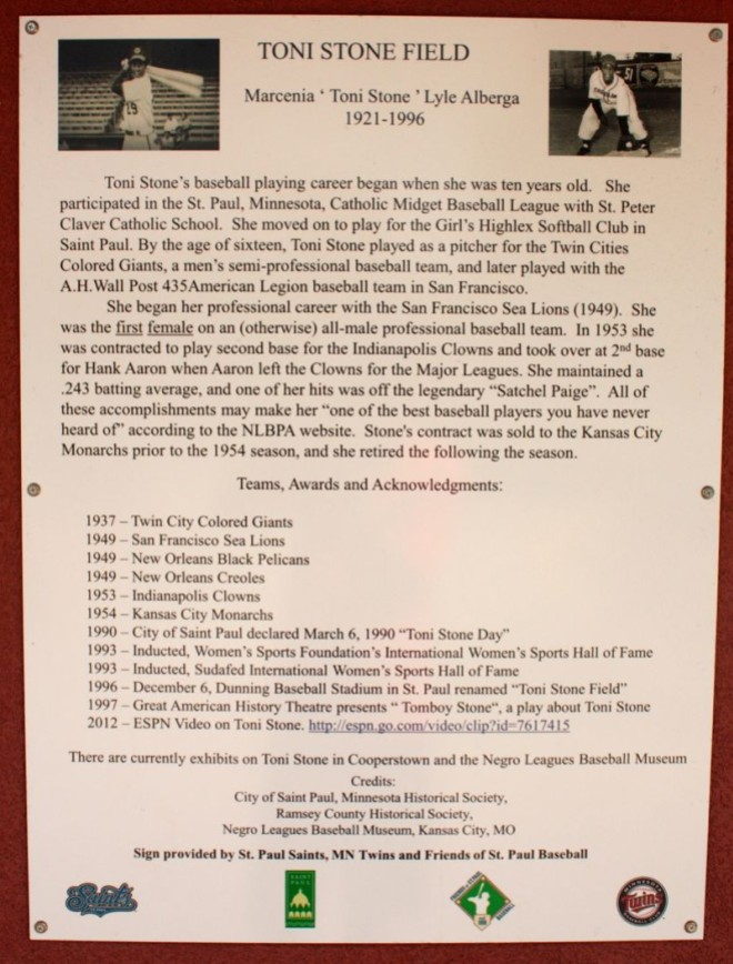 The plaque posted near the entrance to Toni Stone Field with details about her