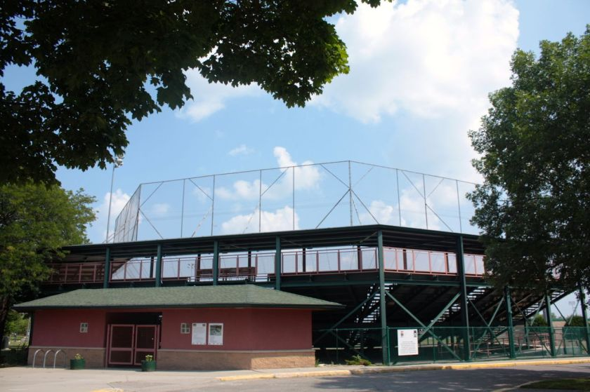 The entrance and bleachers at Toni Stone Field, part of the Dunning Sports Complex.