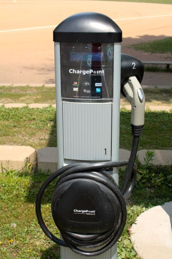 A close look at the pump-like charger.