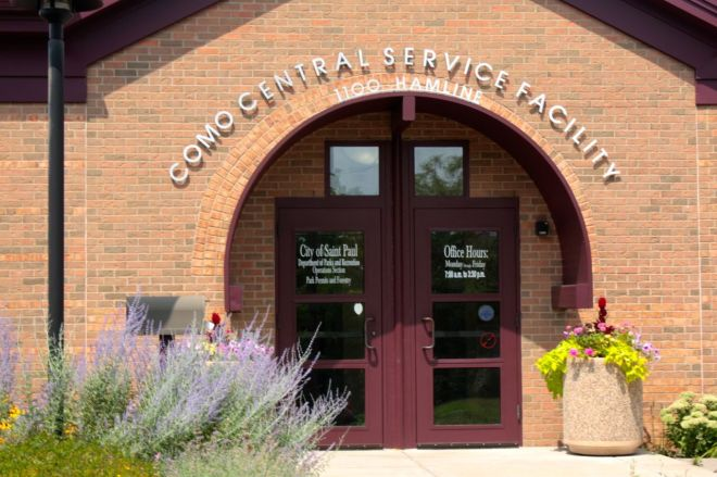 The Como Central Service Facility houses the Parks and Recreation Department's Operations Division. The address is 1100 Hamline although the building faces Jessamine.
