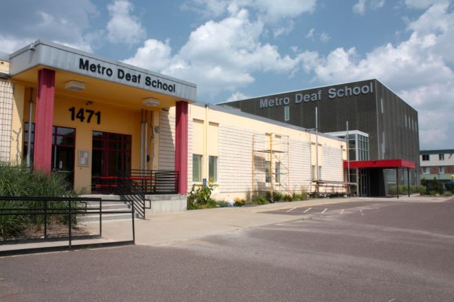 The Metro Deaf School offers a bilingual education using American Sign Language (ASL) and English for primarily deaf, and hard-of-hearing students, according to its website.