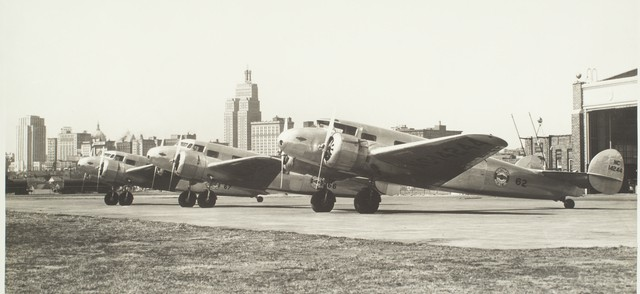 Part of the Northwest Airlines fleet of Lockheed Electras sit on the tarmac in 1935. Minnesota Historical Society