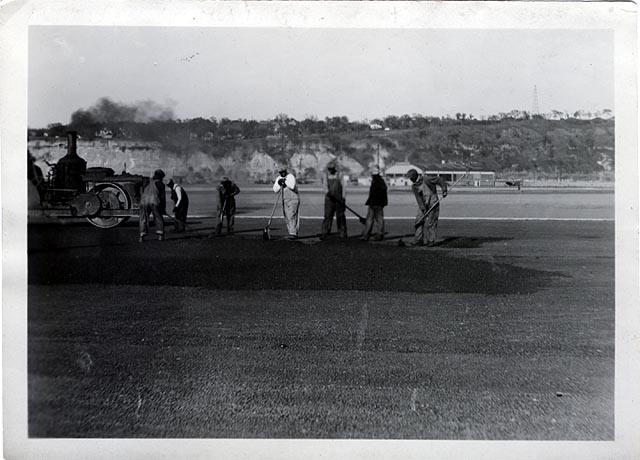 Works Progress Administration participants pave a runway about 1940. Minnesota Historical Society