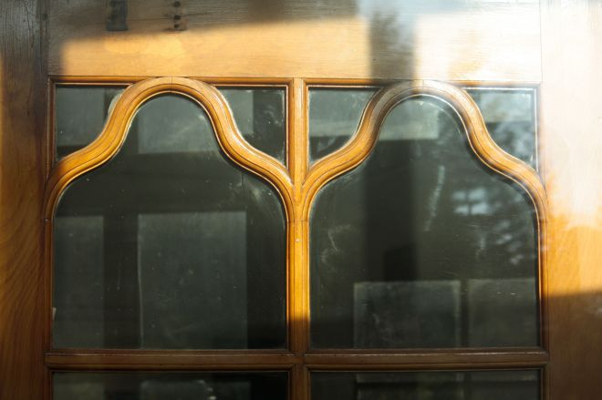 The woodwork of the outer auditorium doors retain their detail more than 75 years after construction.